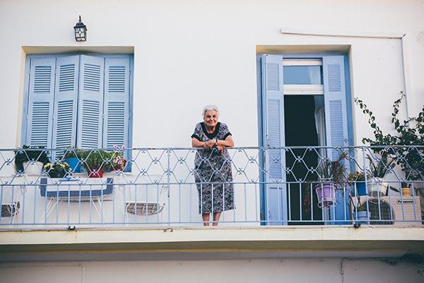 age italian lady on a balcony