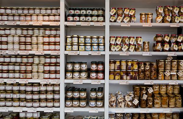 DOP certified shelves of antipasto