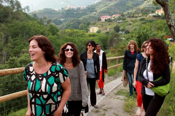women tour group hiking Cinque Terre
