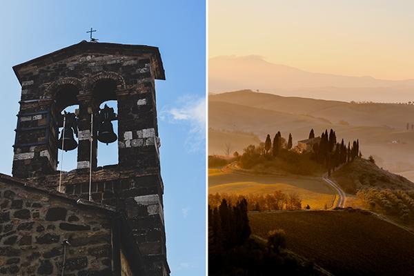 montalcino tower and sunrise