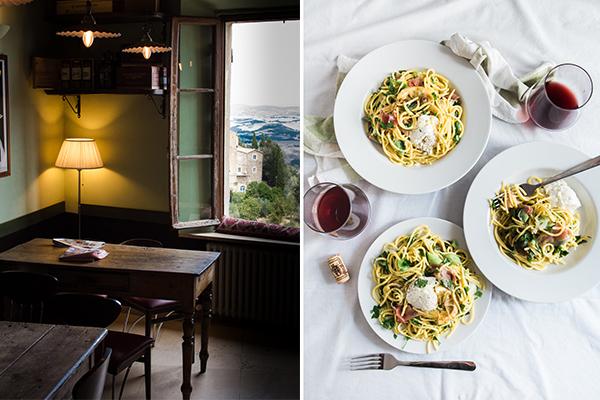montepulciano and montalcino wine and pasta