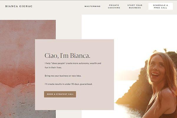 Biancagignac.com home page screenshot